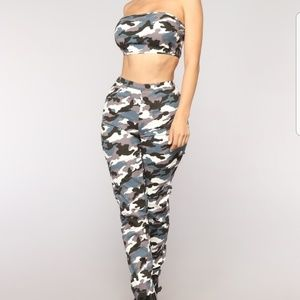 Grey Fashion Nova F'N Camo Set